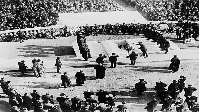 Vintage photo of military burial ceremony for the unknown soldier