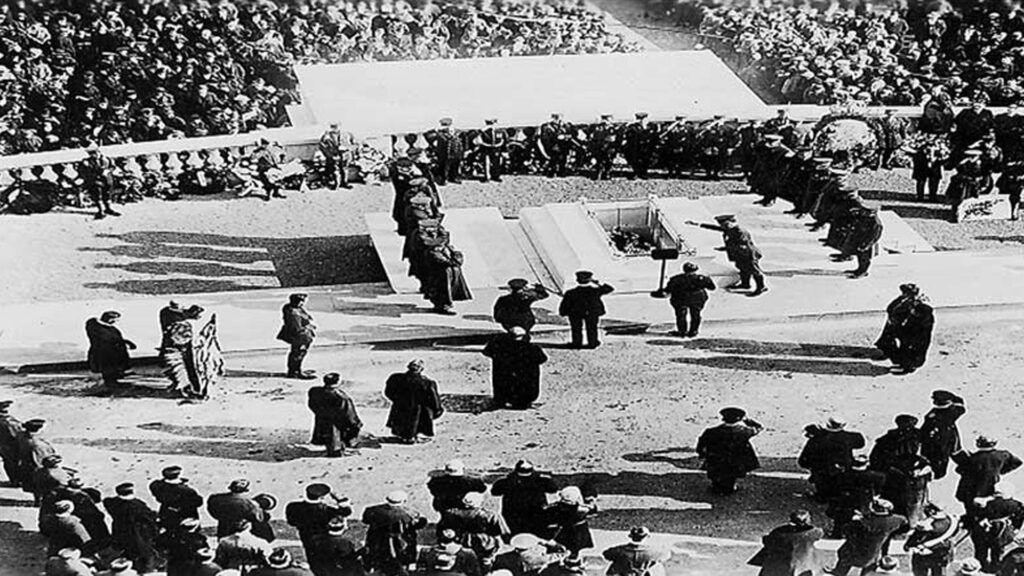Archival footage of miltary ceremony for the Unknown Soldier