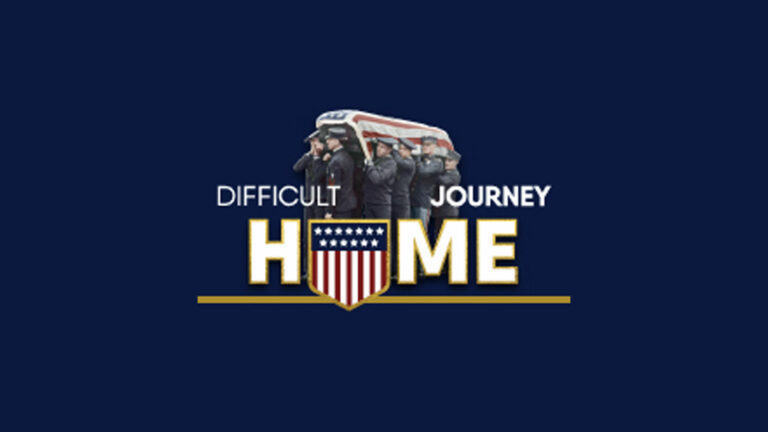 Graphic for the difficult journey home showing soldiers carrying a coffin shrouded by the American flag