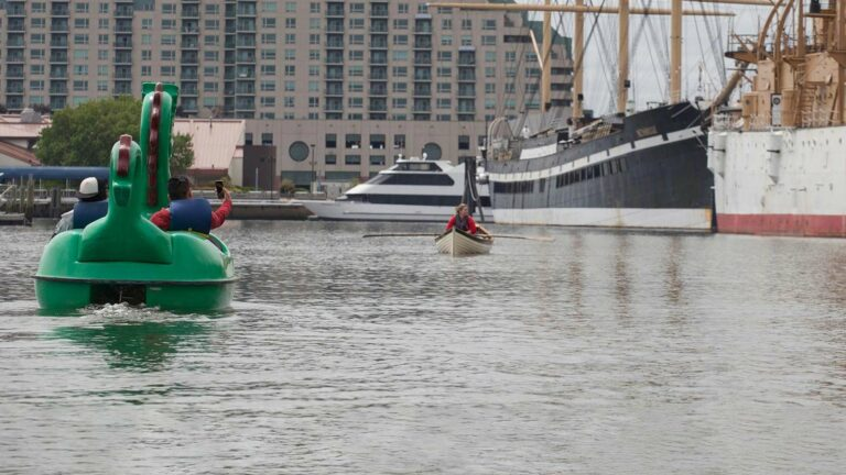Guests paddling in a dragon boat on the water at The Independence Seaport Museum