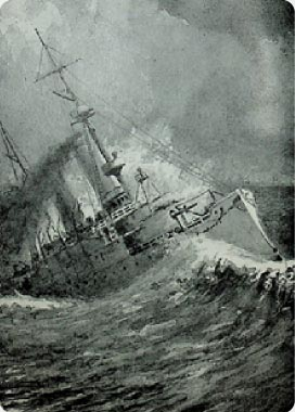 Painting of Cruiser Olympia in rough seas on display at The Independence Seaport Museum