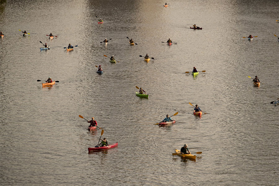 Kayaks paddling on the water at The Independence Seaport Museum