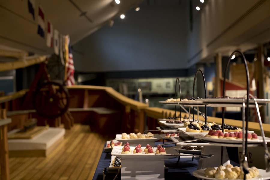 Wedding reception showing trays of food
