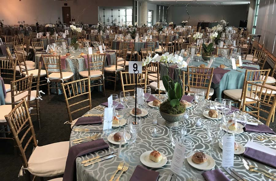 Wedding reception room with tables