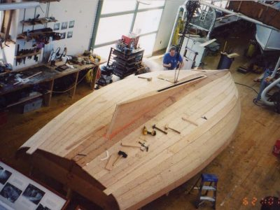 Restoration of the hull of a boat in the ship builders shop at The Independence Seaport Museum