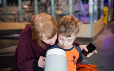 Grandmother and grandson at the River Alive exhibit at The Independence Seaport Museum