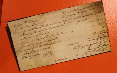 Facsimile of an old bill of sale on exhibit at The Independence Seaport Museum